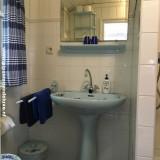 badkamer met douche, wastafel, toilet, centrale verwarming design radiator voor warme handdoeken buitengoed de gaard pipowagen deluxe