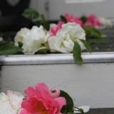 groet met rozen voor bruidspaar pipowagen de luxe buitengoed de gaard