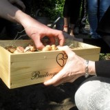 allemaal een handje gladiolenbollen planten door jon van eerd, lucie de lnagen, arie cupé en cast 'harrie en twee meesters' bij buitengoed de gaard