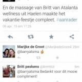compliment van barry atsma voor britt van britt's beautiek (voorheen atalanta) na massage behandeling bij buitengoed de gaard