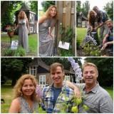 maaike widdershoven, michiel de meyer en tony neef vieren 50 jaar buitengoed de gaard en planten ridderspoor